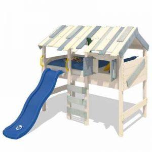 Lit mezzanine et toboggan bleu avec cabane pour enfants