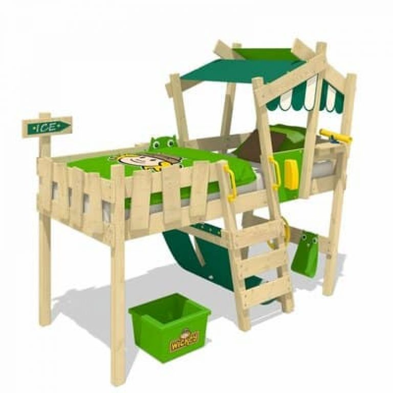 Lit cabane mi-hauteur en bois