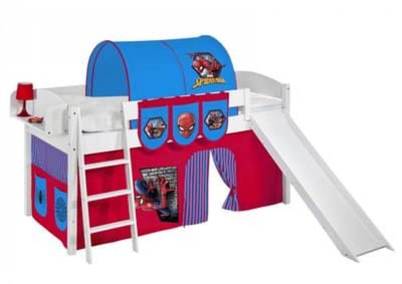 Lit mezzanine avec toboggan et accessoires de lit Spiderman