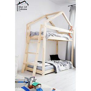 lit cabane superposé avec échelle en bois massif