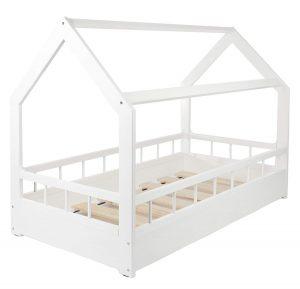 lit cabane blanc avec barrière fermé