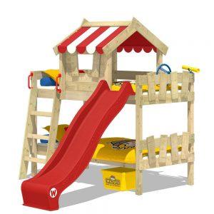 Lit cabane superposé avec toboggan pour enfant