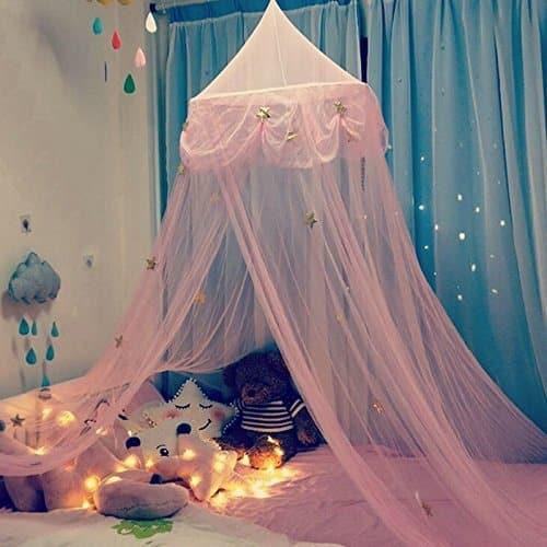 Ciel de lit fille en rose