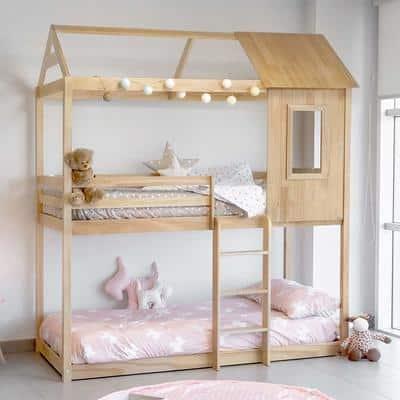 Lit cabane superposé avec couchage Montessori