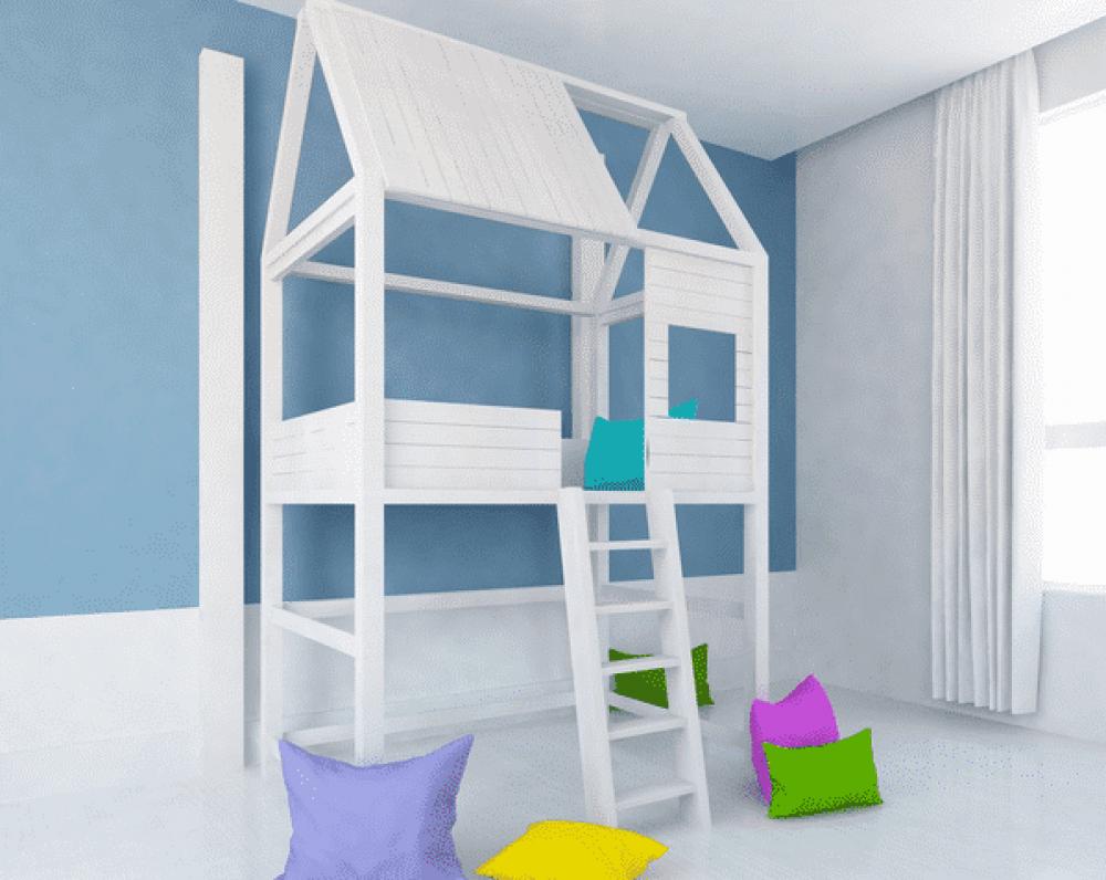 Lit mezzanine blanc avec cabane pour enfant