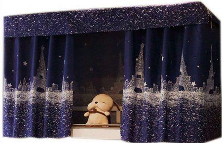 Rideau de lit bleu adulte et enfant